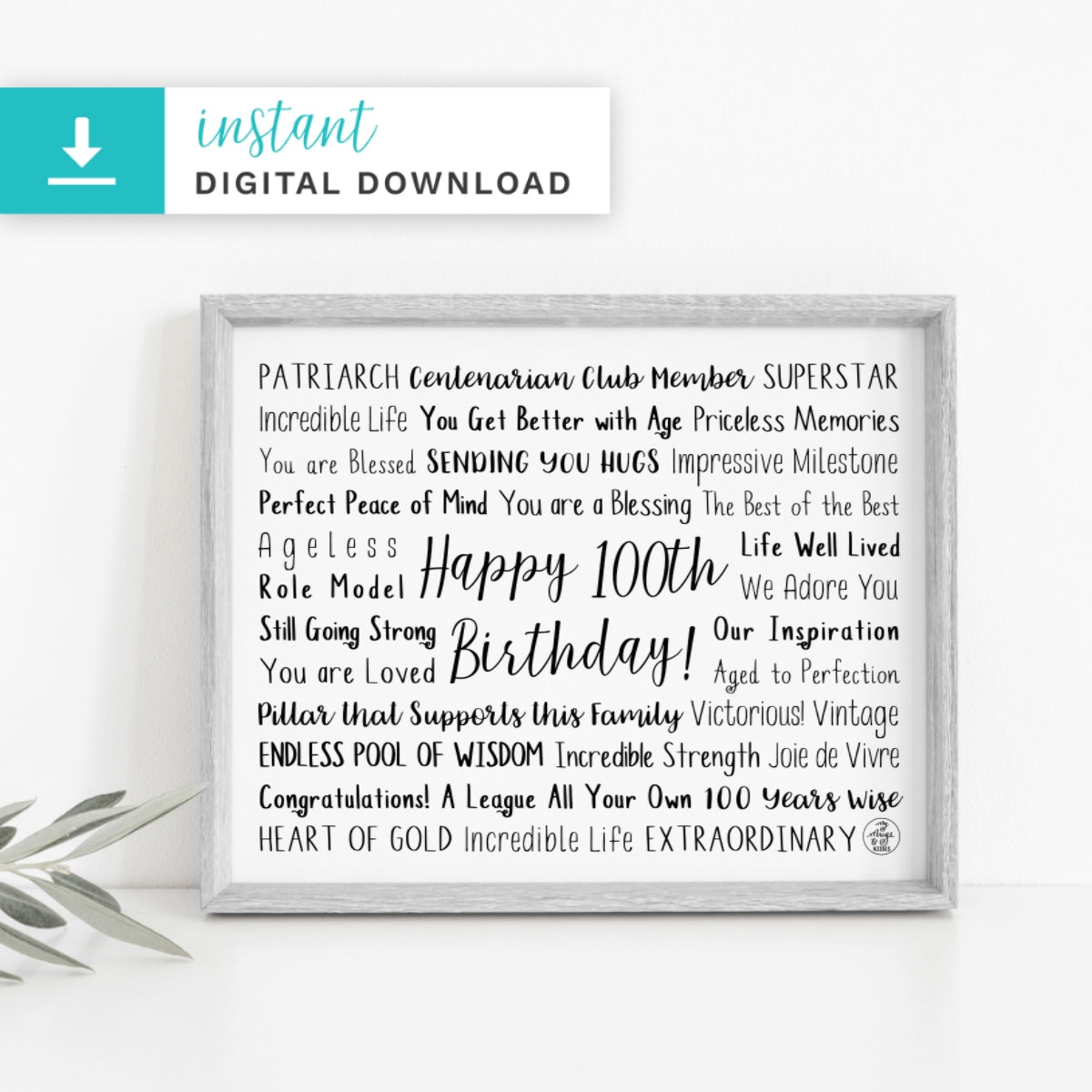 100th Birthday Digital Download
