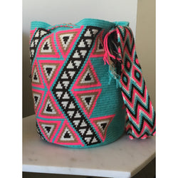 Blue & Pink Triangle Pattern Woven Bag