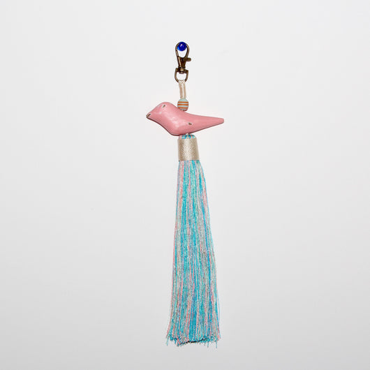 Pink Bird Tassel with Cotton Candy Tail