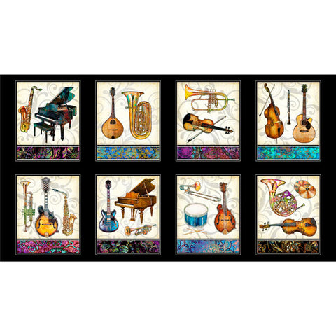 Quilting Treasures Fine Tuning by Dan Morris Instrument Picture Panels Black