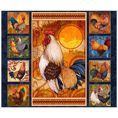 QT Fabrics, SUNRISE FARMS ROOSTER PANEL, 27415-N. Fabric by the Panel