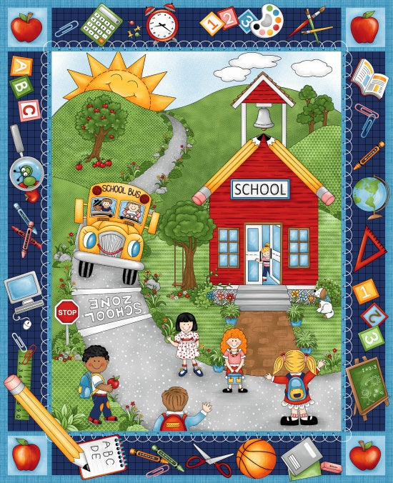 "School Rules ""School Zone"" 36"" panel Studio E Cotton Fabric"