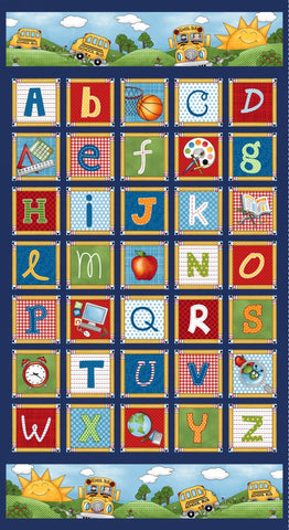School Rules Alphabet A-Z Letters Block Panel Panel 24 X 44 inch Studio E Cotton Fabric