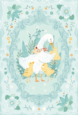 Ducky Tales 30in Panel Light Jade Fabric