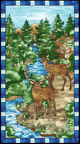 Mosaic Forest 24in Panel Blue Fabric