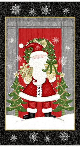 Winter Greetings Santa 24in Panel Black Fabric