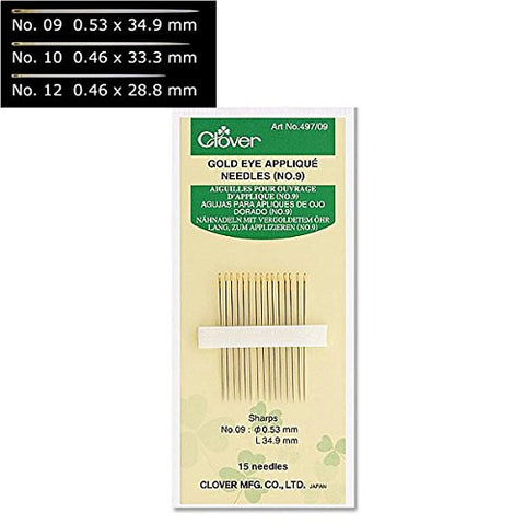 Applique Needles, Sharps, Gold Eye, by Clover - Size 12