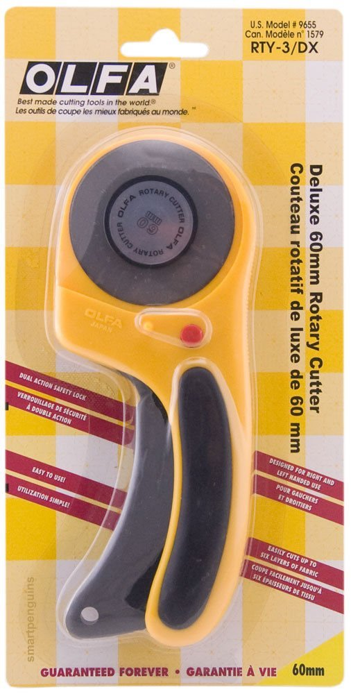 Olfa Deluxe 60mm Rotary Cutter RTY-3/DX Ergonomic Cutting Tool 9655