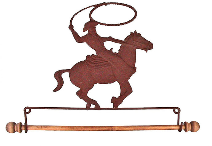 7-1/2in Rusty Tin Cowboy On Horse Fabric Holder …