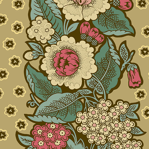 Andover Chesapeake by Di Ford - Hall- Khaki Boquet, Fabric by the yard