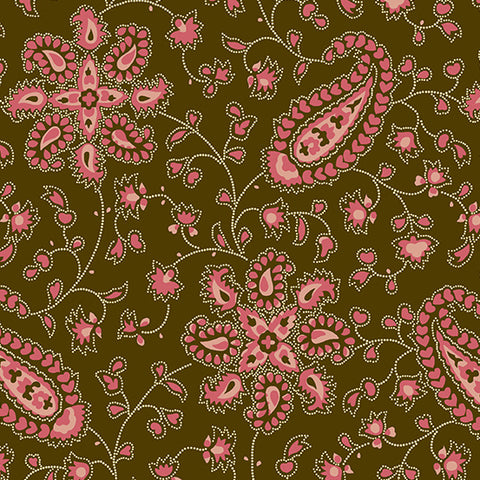 Andover Chesapeake by Di Ford-Hall - Pink Paisley, Fabric by The Yard
