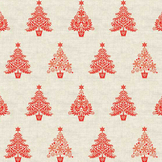 Andover Makower Scandi 2018 Trees Fabric by the Yard, Red