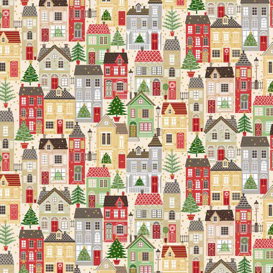 Andover Makower Silent Night Houses Metallic Fabric by the Yard, Multi