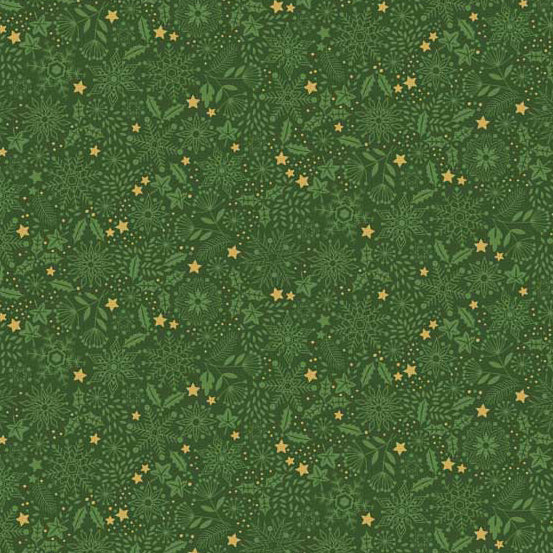 Andover Makower Silent Night Metallic Tonal Fabric by the Yard, Green