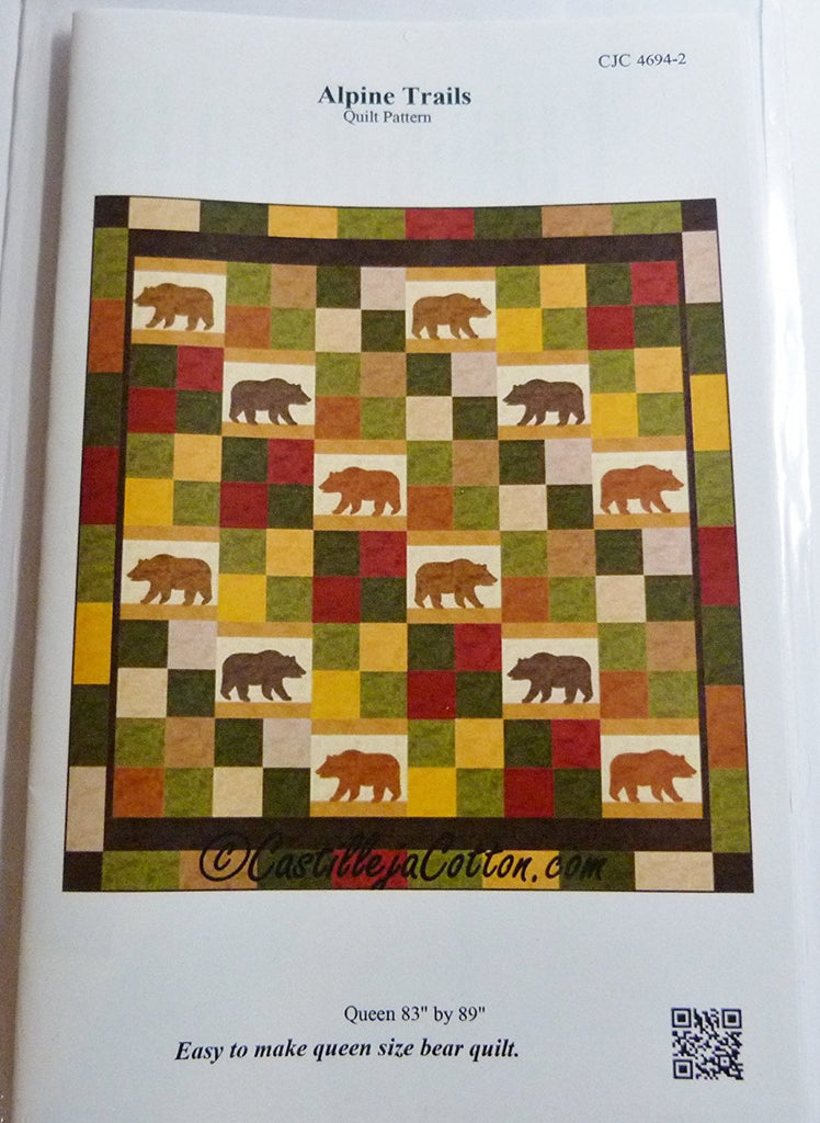 "Alpine Trails Quilt Pattern by Catillejacotton Size Queen 83"" by 89""."