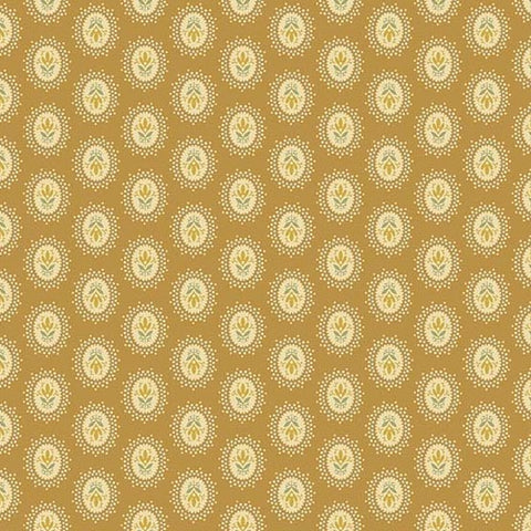 Andover Crystal Farm Medallion Toffee Fabric by The Yard