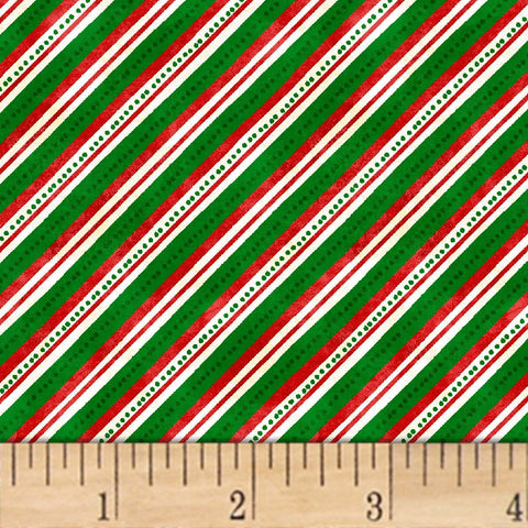 Windham Fabrics Winter Wishes Diagonal Stripe Green Fabric By The Yard