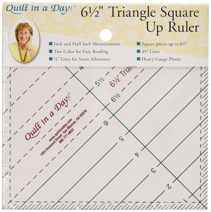 Quilt In A Day 6-1/2-Inch by 6-1/2-Inch Triangle Square Up Ruler