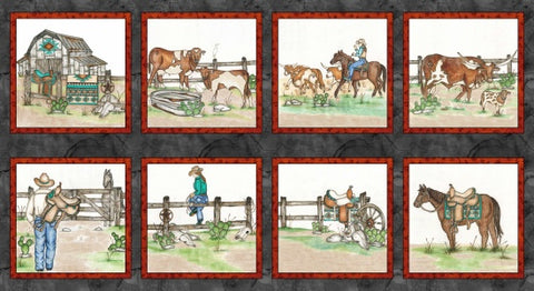 Blank Quilting - Home on the Range - Blocks- Fabric by the Panel