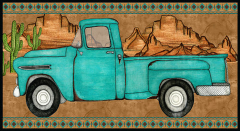 Red Rock Reflections Large Turquoise Truck in Mountains Cotton Fabric Blank Mfg.