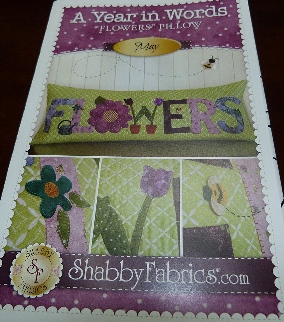 "A Year in Words ""Flowers Pillow"" by Shabby Fabrics"