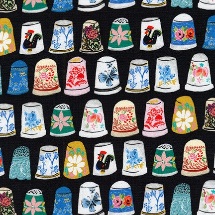 Robert Kaufman Thimbles and Threads 17204-2 black Fabric by the yard