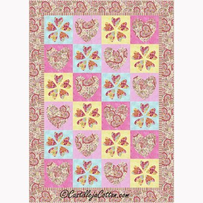 Hearts and Flowers Quilt Pattern CastillejaCotton