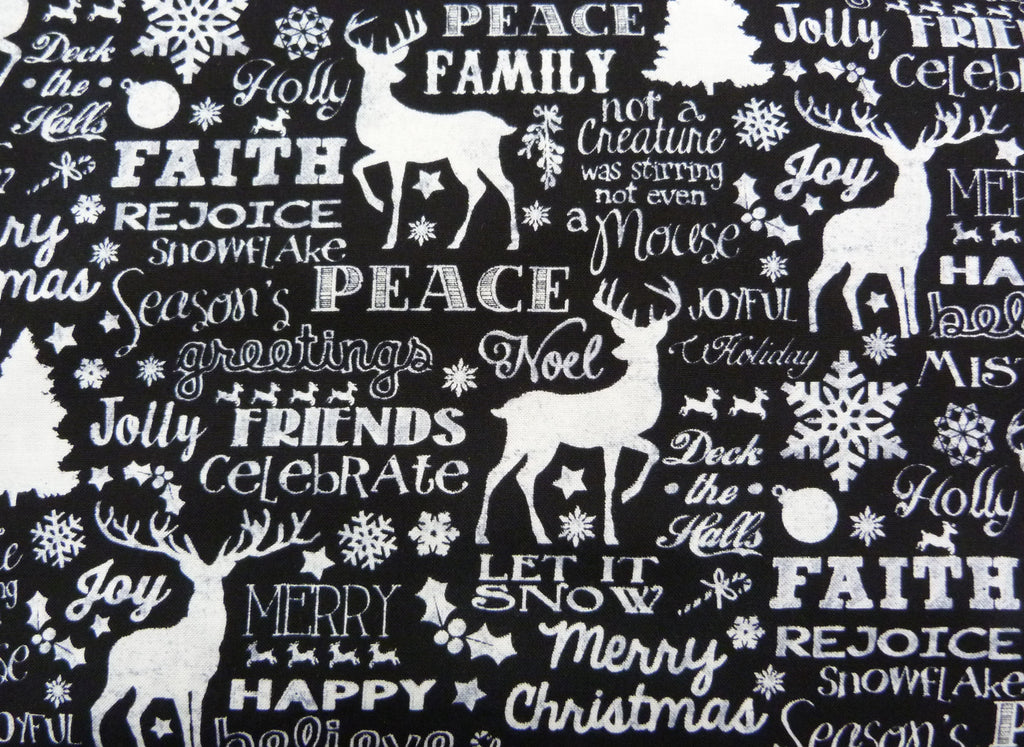 Timeless Treasures Tonga - 4620 Christmas Words, Black  Fabric by the yard
