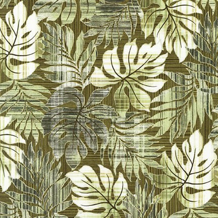 Kaufman Sevenberry Island Paradise Leaves Green Fabric by The Yard