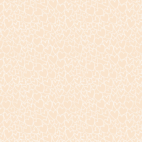 Andover Fabrics Essentials 2018 Nude, Hearts. Fabric by the yard