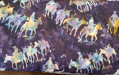 4everquilting Mule Train Batik - Eggplant. Fabric by the yard
