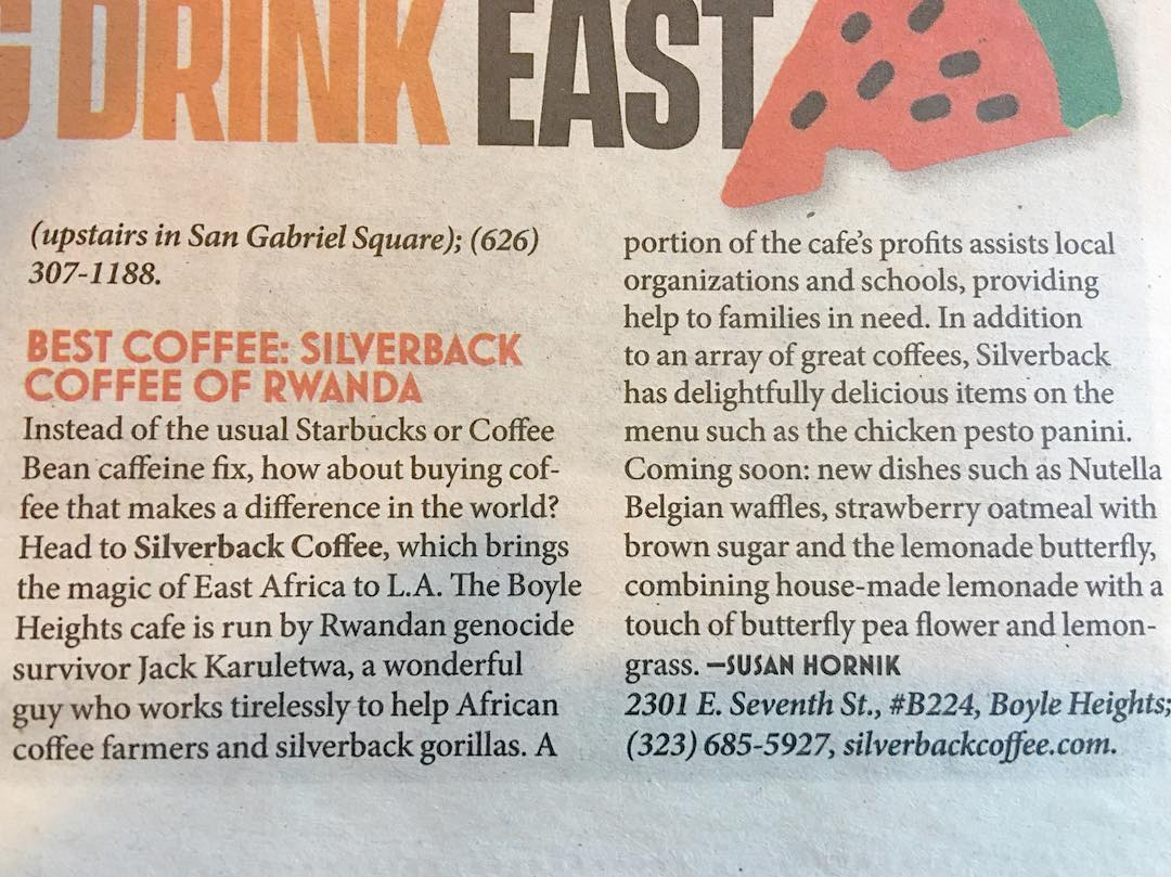 Silverback Coffee featured in LA Weekly