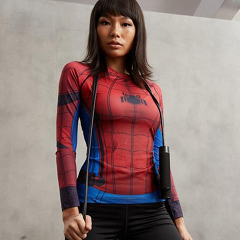 Women's Compression T Shirt Long Sleeve Spider