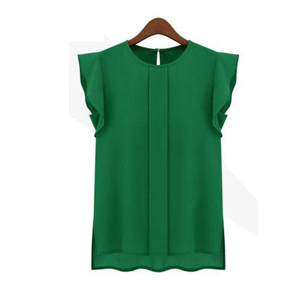 Green Womens Blouses Short Sleeve Chiffon O-neck Ruffled Pleated - trendninjas
