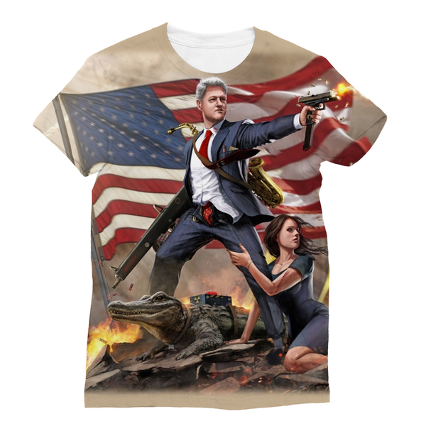 Bill Clinton - Slayer in Chief Sublimation Unisex T-Shirt - trendninjas