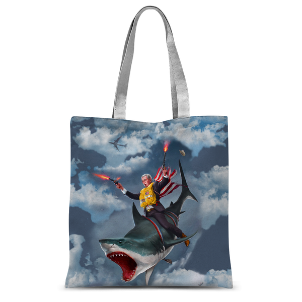 Cowboy Dubya - The Shark Rider Tote Bag - trendninjas