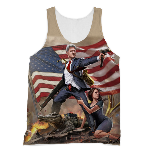 Bill Clinton - Slayer in Chief Sublimation Unisex Tank - trendninjas