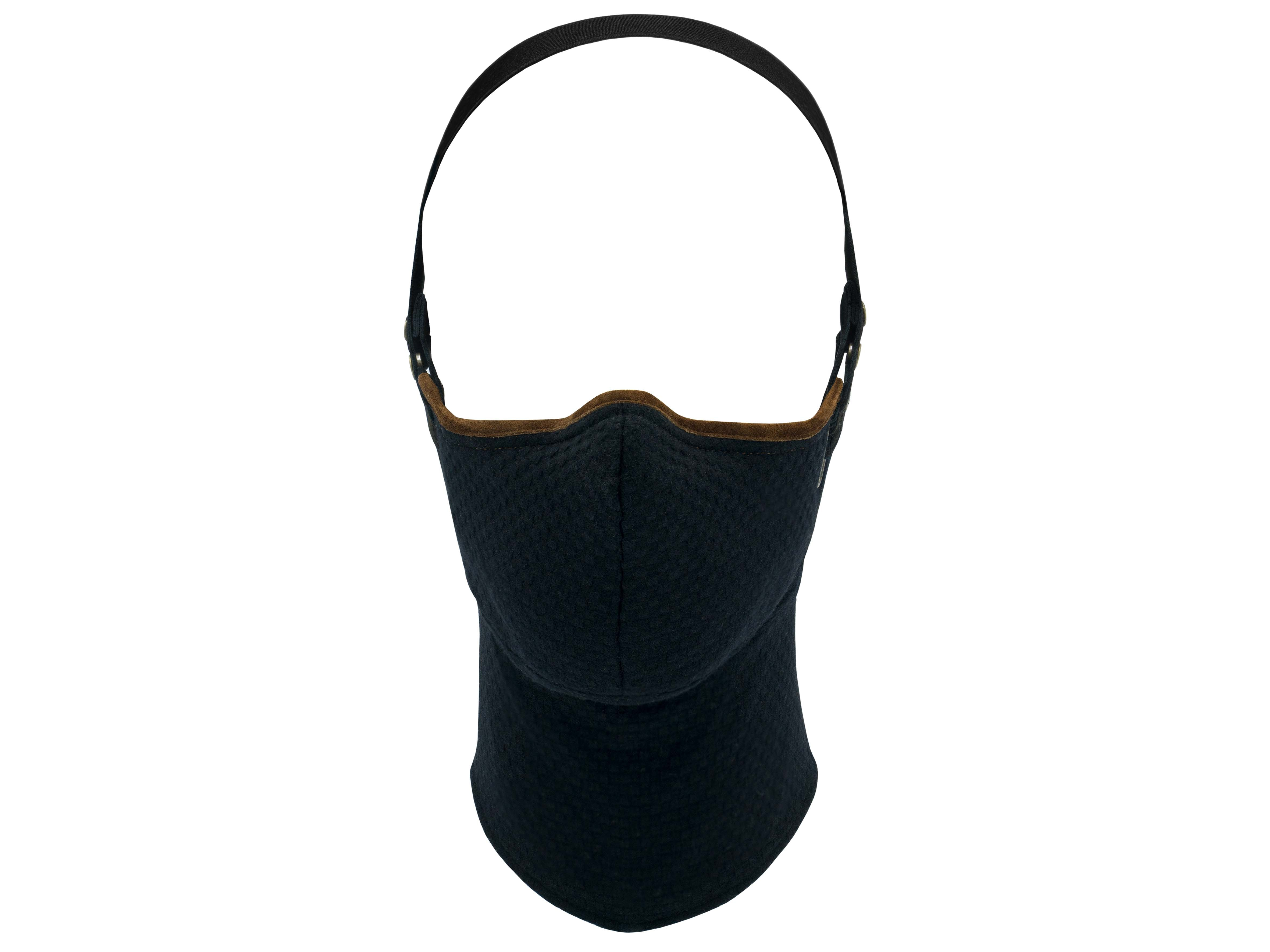 Black Wool Brown Trim Pollution Mask