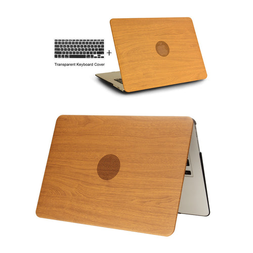 WOOD GRAIN Leather Laptop Case for apple MacBook Air Pro Retina + keyboard cover Brown