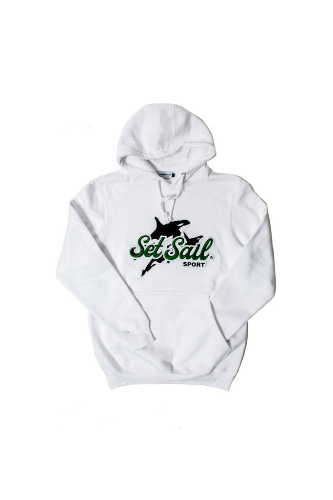 """Killer Instinct"" Embroidered White Hoodie - SET SAIL APPAREL"