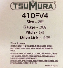 "T410FV4 TSUMURA 28"" Guide Bar: Pro Replaceable Tip: 3/8 x .058 x 92D.L."