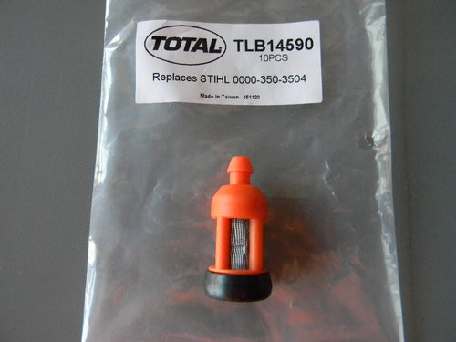 TLB14590 FUEL FILTER : STIHL FITS MANY MODELS 045, 046, 070, 075, 090, TS50, TS510, MS250, 290, 310, 390, 440, 460, 660, 880 Just some of the examples  OEM=0000-350-3504, 0000-350-3510, 1115-350-3503 (metal mesh type) High quality
