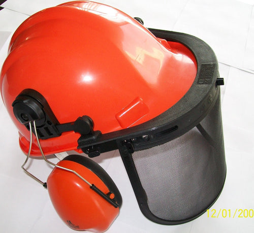 A100 Chainsaw Protective SAFETY HELMET SYSTEM - Hard Hat / Ear Muffs / Face Shield