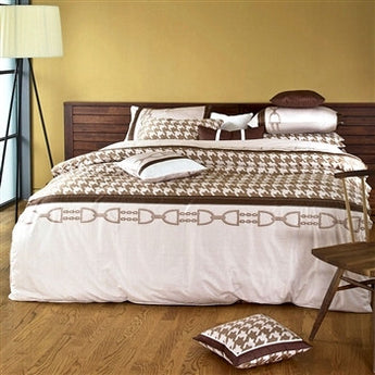Cotton Sateen Beige & Brown Houndstooth Duvet Cover Set