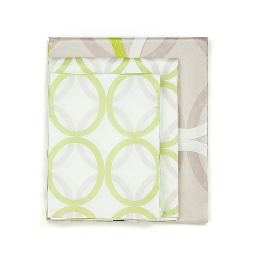 Sateen Beige With Green, Brown, White Rings 4 PCS Sheet Set