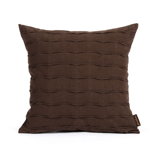Dark Brown Hand Crafted Pintuck Accent Throw Pillow Cover