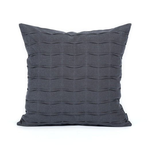 Charcoal Gray Hand Crafted Pintuck Accent Throw Pillow Cover