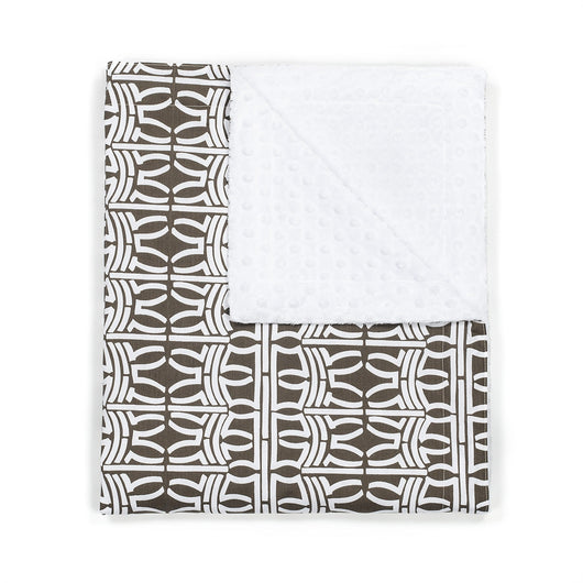 Contemporary Cocoa White Stroller Blanket