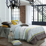 Soft Egyptian Cotton Sateen Multi Color Brown & Yellow Stripe Duvet Cover Set