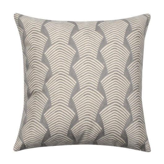 Attractive Embroidered Cotton Modern Gray & White Throw Pillow Cover  QP51